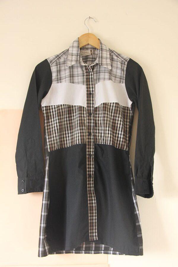 Camisa vestido patchwork manga larga