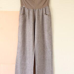 Pantalón lino tostado/gris