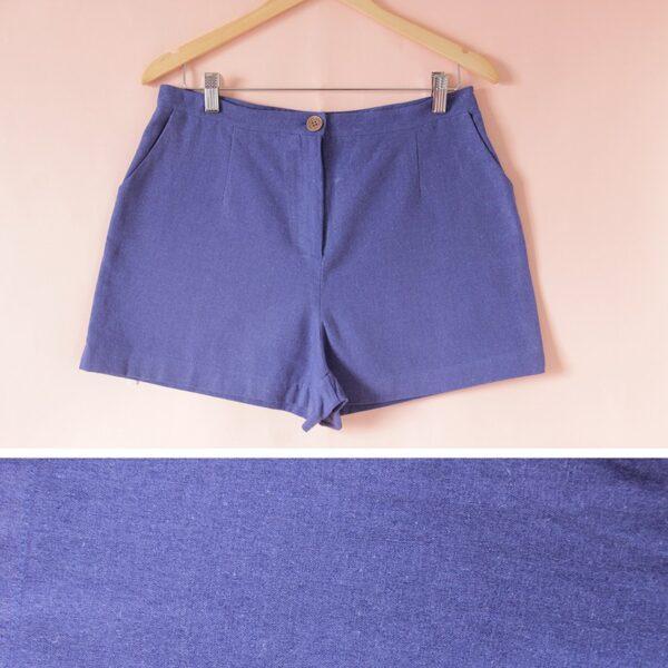 Short de lino azul
