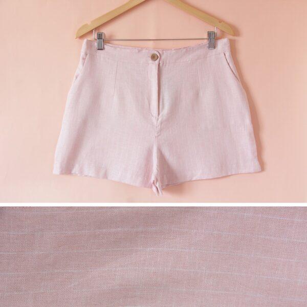 Short de lino rosa