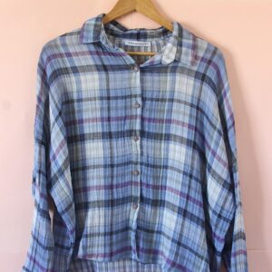 Camisa super ancha de gasa de algodón escocesa