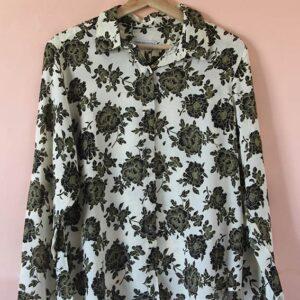 Camisa de fibrana flores marrones
