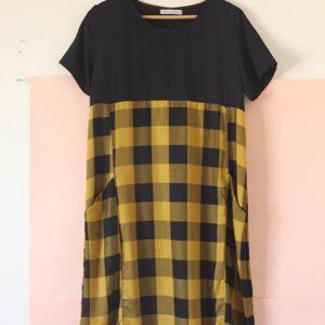 Vestido Canesú Escocés amarillo y negro