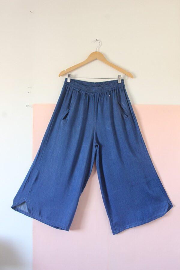 Pantalón pollera tencel azul