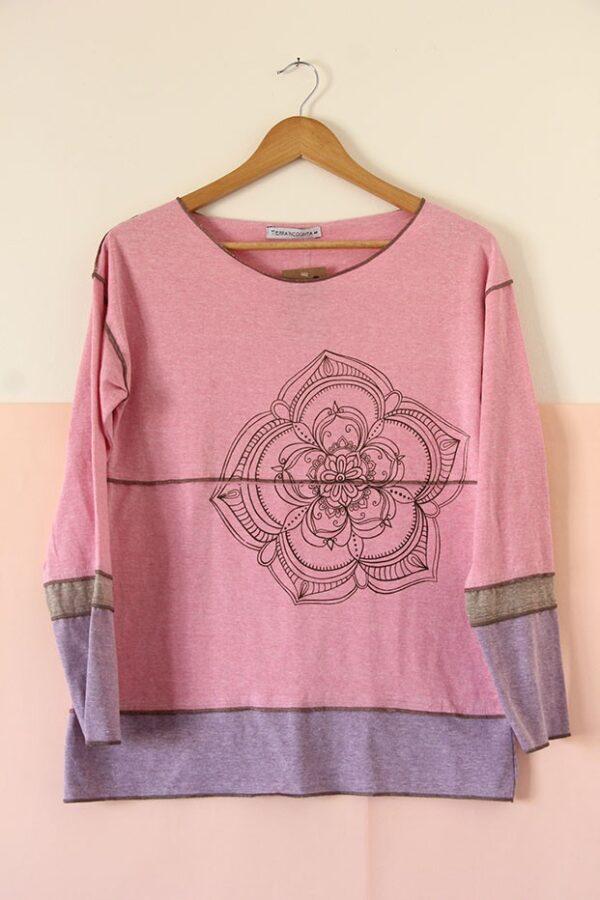 Remera tricolor manga larga rosa