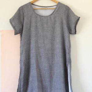 Vestido doble voile y bambula gris