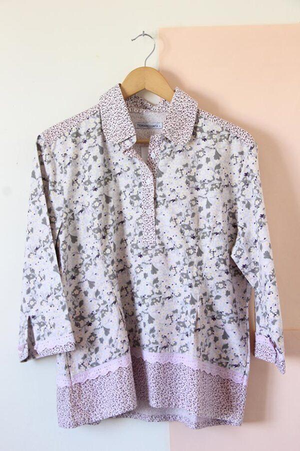 Camisa poplin manga 3/4 combinada