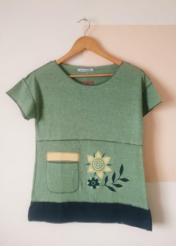 Remera Tricolor Manga corta verde