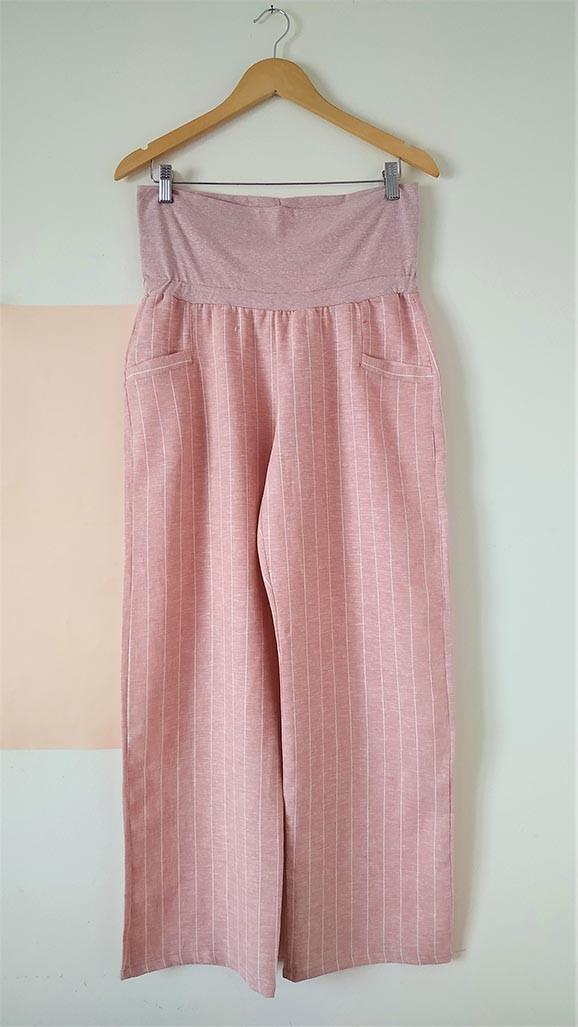 Pantalón lino rayitas rosa