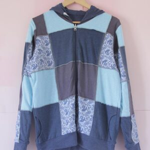 Campera patchwork de algodón reversible azul
