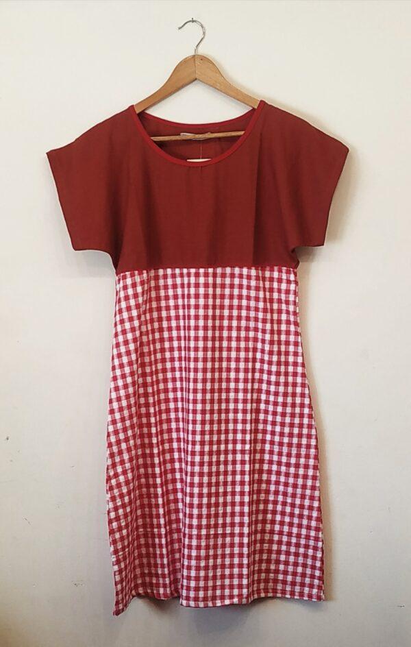 Vestido Japón lino y algodón rojo