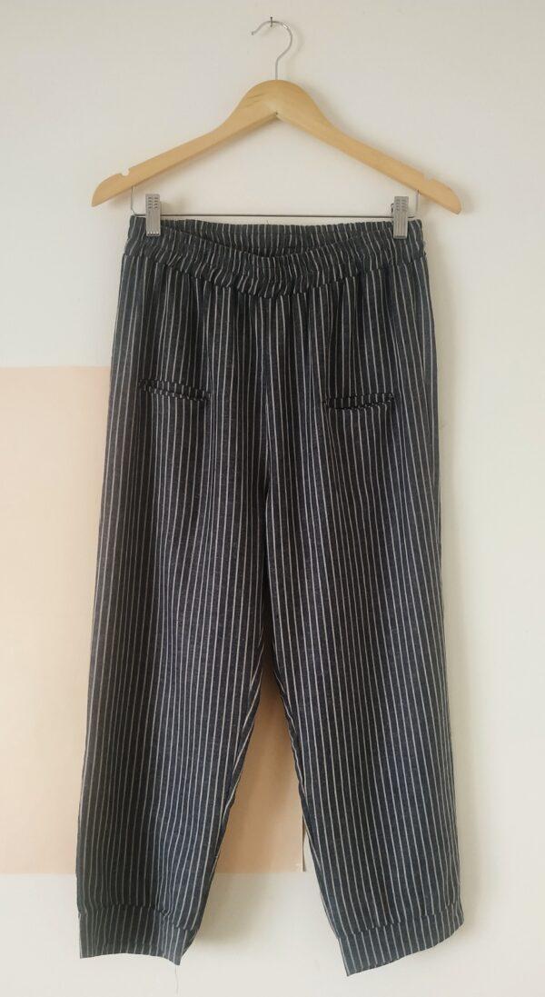Pantalones pescador del río lino rayas azul