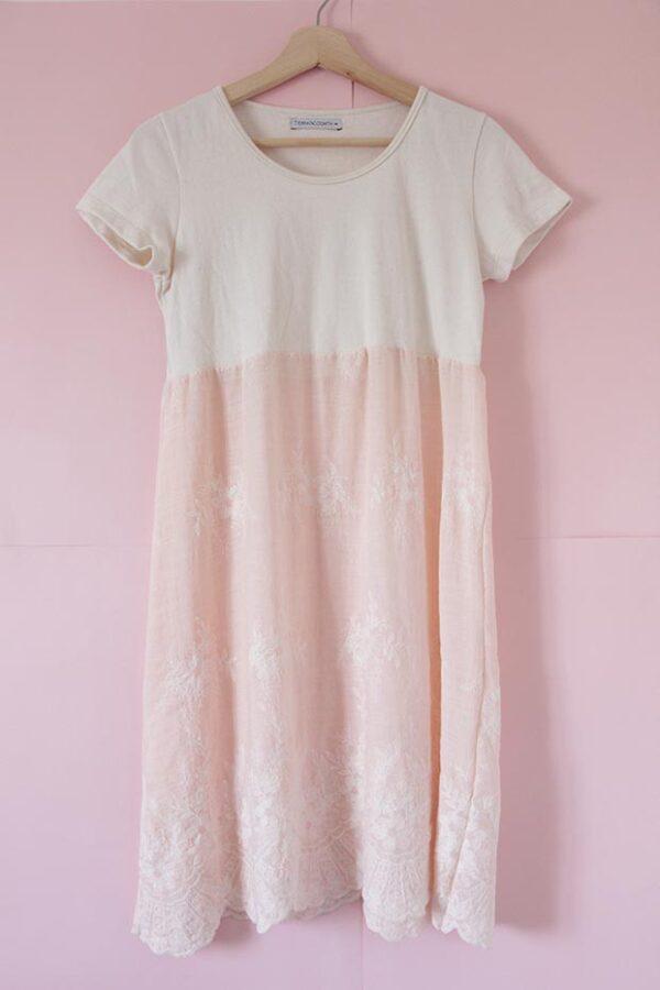 Vestido Jazmín rosa algodón eco y bordado