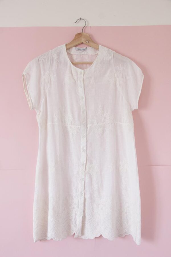 Blusa vestido voile de algodón bordado crudo