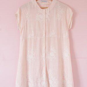 Blusa vestido voile de algodón bordado rosa