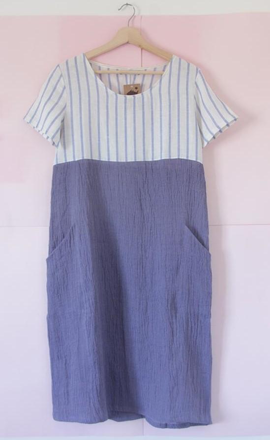 Vestido Marila en lino y algodón azul