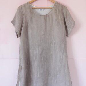 Vestido doble de viscosa de algodón y bambula tostado