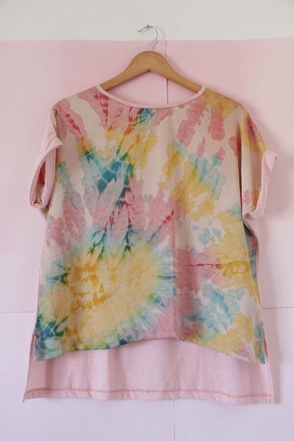 Remera seda pintada a mano y algodón rosas